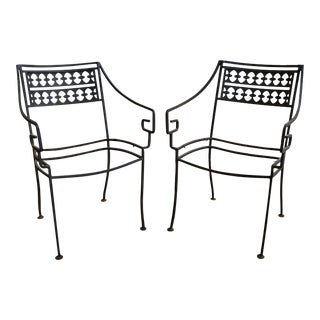 1950s Patio Greek Key Wrought Iron Arm Chairs - a Pair