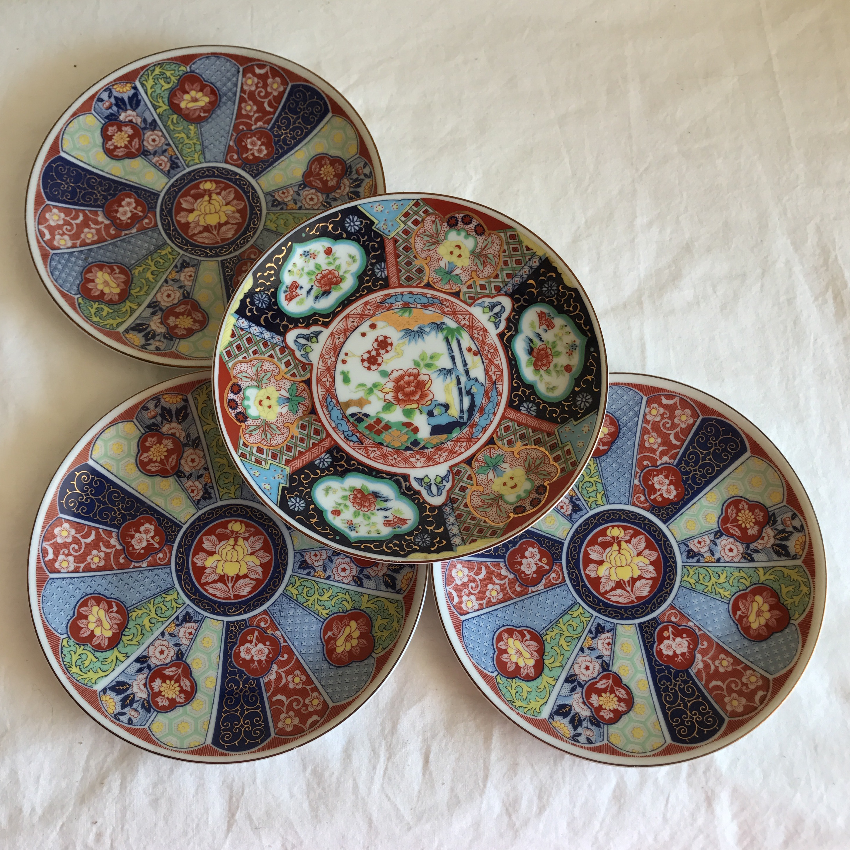 Lotus Floral Japanese Plates - Set of 4 - Image 6 of 10 & Lotus Floral Japanese Plates - Set of 4 | Chairish