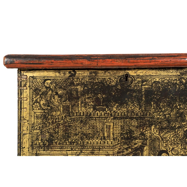 Antique Chinese Red and Gold Blanket Chest, 19th C - Image 5 of 10