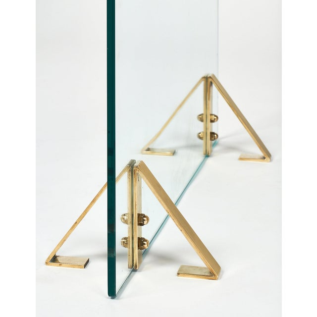 Mid-Century Glass & Brass Fire Screen attributed to Jacques Adnet For Sale - Image 9 of 10