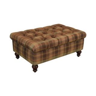 Custom Upholstered Plaid Upholstered Ottoman (B) For Sale
