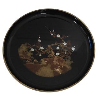 Mid Century Japanese Lacquered Black & Gold Serving Tray For Sale