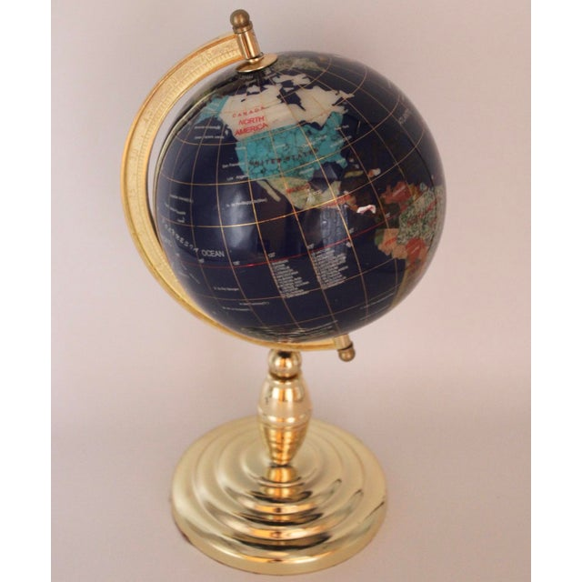 Vintage Blue Lapis World Globe on Brass Stand With Semiprecious Gems For Sale - Image 10 of 10
