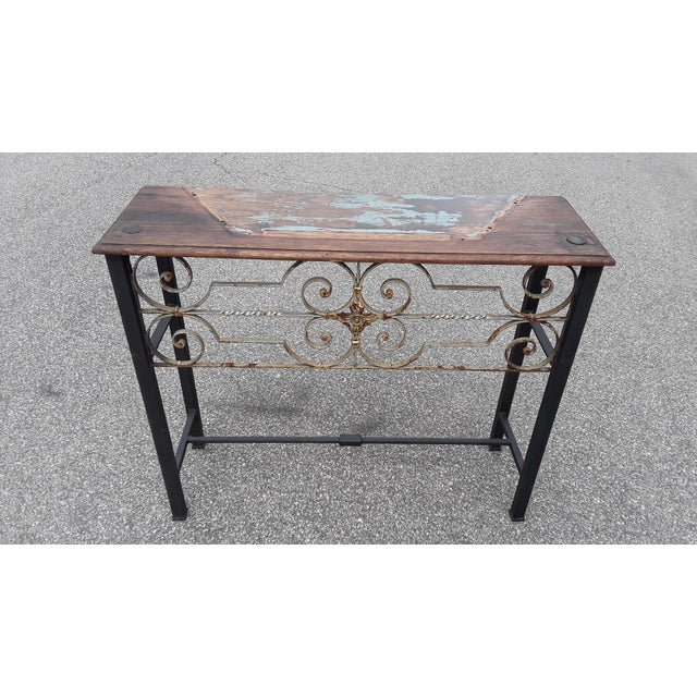 2020s Antique European Hand Wrought Iron Transom Console For Sale - Image 5 of 7