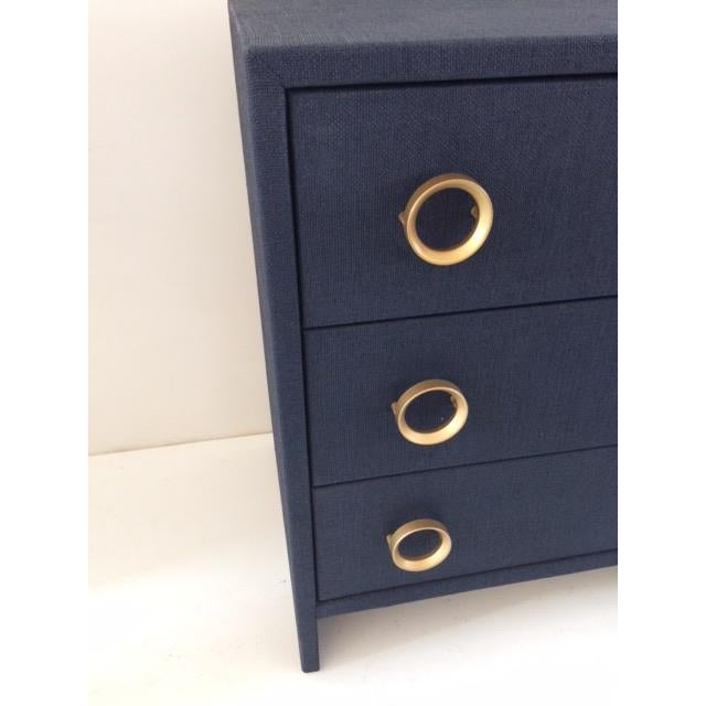 Wood Contemporary Todd Hase Three Drawer Burlap Wrapped Chest For Sale - Image 7 of 13