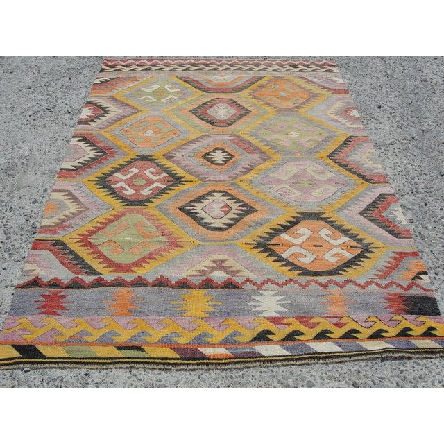 Boho Chic Vintage Turkish Kilim Rug - 5′2″ × 7′7″ For Sale - Image 3 of 11