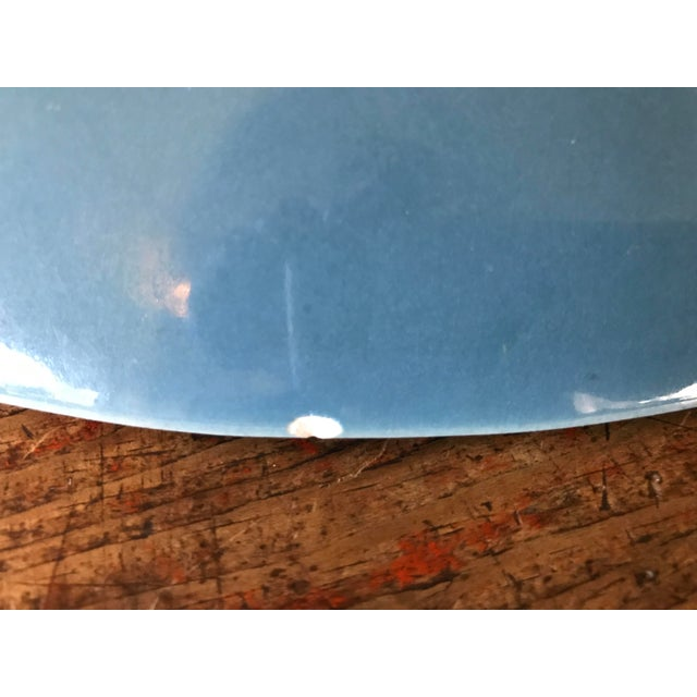 Vintage French Pottery Palette Shaped Blue Glazed Platter - Image 8 of 8