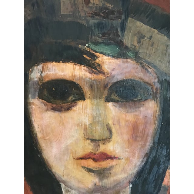 Title - Portrait of a Woman Signed - lower right, signature indistinct Year - 1970's Medium - Acrylic on wood board Frame...