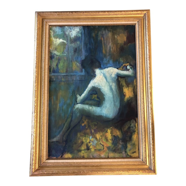Original Vintage Impressionist Female Nude Interior Painting Large Framed For Sale