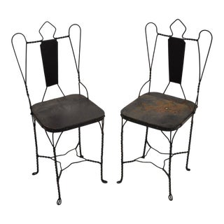 Pair of Antique Twisted Wrought Iron Metal Ice Cream Parlor Garden Side Chairs