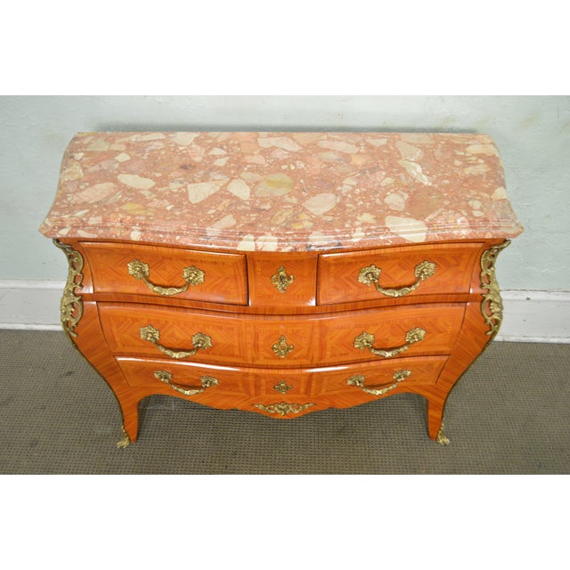French Louis XV Style Marble Top Bombe Commode Chest of Drawers For Sale - Image 4 of 12