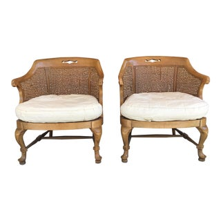 1960s Hollywood Regency Cane Club Chairs - a Pair For Sale