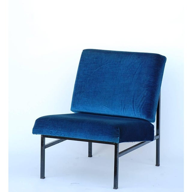 Blue Pair of 'Déclive' Velvet and Blackened Steel Slipper Chairs by Design Frères For Sale - Image 8 of 9