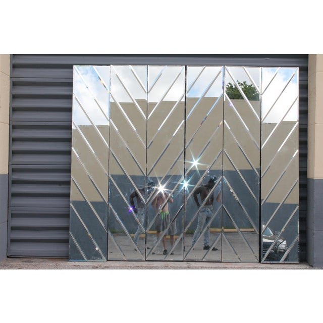 Mid-Century Modern Beveled Mirror Screen - Image 2 of 11