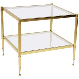 Italian Brass Glass Side Table For Sale