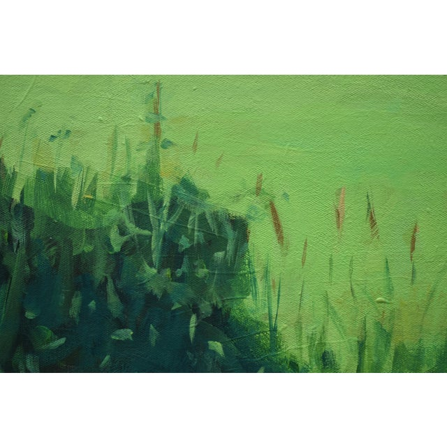 """Canvas """"Glowing Green ~ Algae Covered Pond"""" Painting For Sale - Image 7 of 13"""