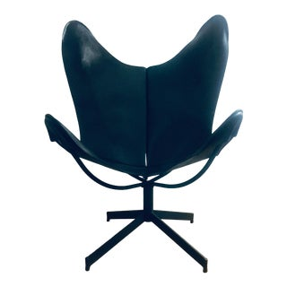 William Katavolos Leather Sling Swivel Lounge Chair for Leathercrafter Mid Century Modern For Sale