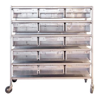 Industrial Stainless Steel Shelving with Wire Baskets on Casters For Sale