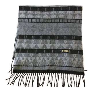 Fendi Italy Wool Scarf Throw Indian Motif For Sale