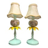 Image of Vintage Metal and White Milk Glass Floral Lamps- - a Pair For Sale