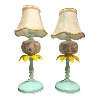 Vintage Metal and White Milk Glass Floral Lamps- - a Pair For Sale