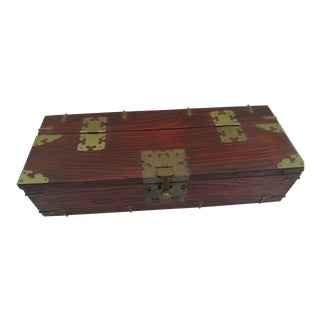 Vintage Korean Chest With Brass Hardware For Sale