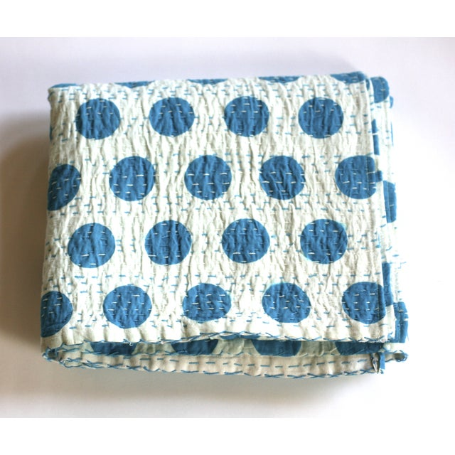Blue Polka Dot Throw - A Full - Image 2 of 5