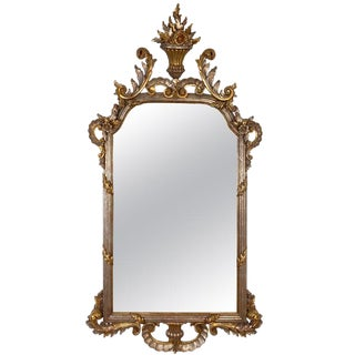1950s Louis XV Style Italian Carved Silver and Gold Gilt Decorative Mirror For Sale