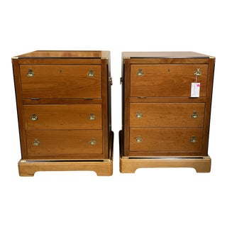 Vintage National Mount Airy Campaign Style Nightstands - a Pair For Sale