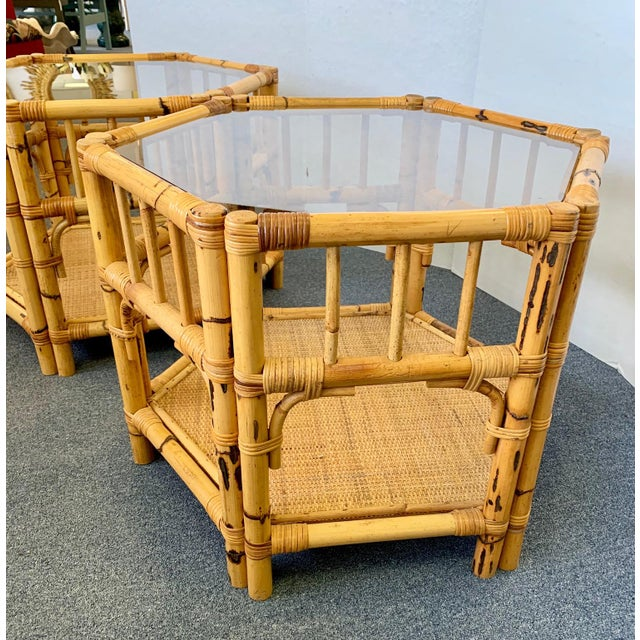 Brown 1960s Boho Chic Octagonal Rattan and Bamboo End Tables With Glass Tops - a Pair For Sale - Image 8 of 12