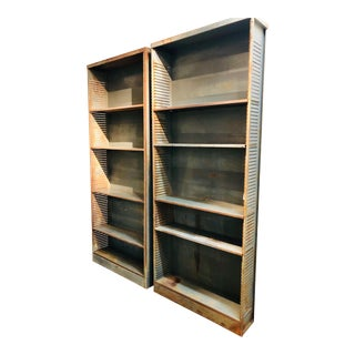 Mid Century Modern Urban Industrial Style Shelves - A Pair For Sale