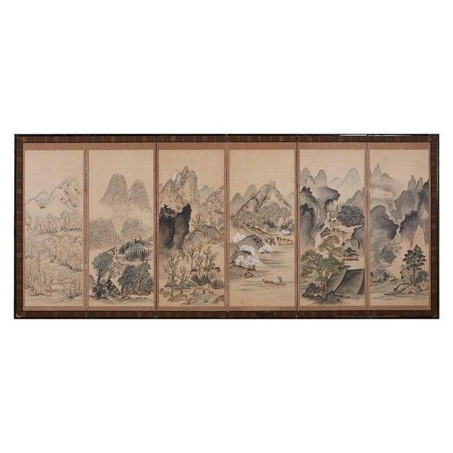 Japanese Six Panel Meiji Landscape Screen For Sale - Image 13 of 13
