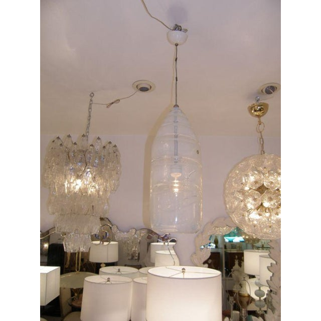 """Large Leucos opalescent white glass chandelier with original Leucos sticker Glass measurements 22"""" x 9"""" dia. Glass is very..."""