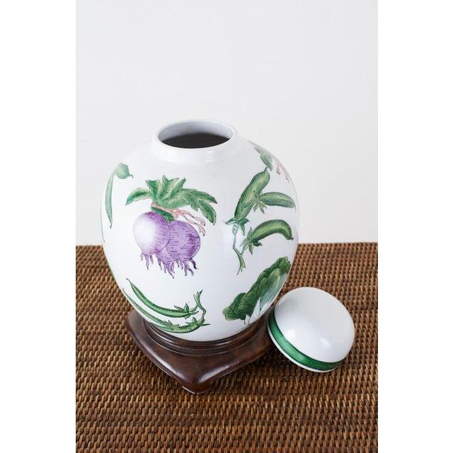 Chinese Export Porcelain Lidded Ginger Jar on Stand For Sale - Image 11 of 13