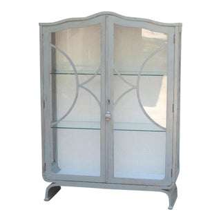 Vintage Glass Front Scalloped Top Locking Display Cabinet