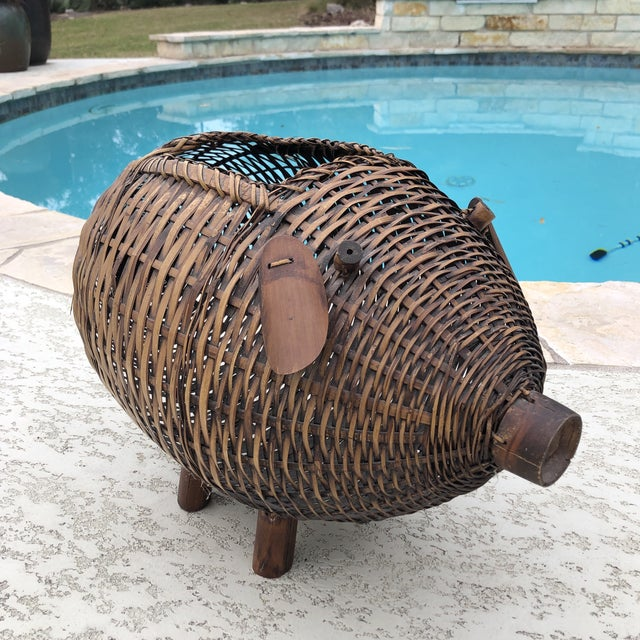 Mid Century Bamboo and Wicker Pig Basket For Sale - Image 10 of 13
