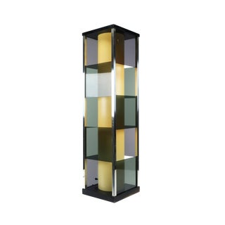 1970s Contemporary Sculptural Smoked Lucite and Chrome Table Lamp For Sale