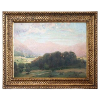 19th Century Italian Artist Large Oil Painting on Canvas With Golden Frame For Sale