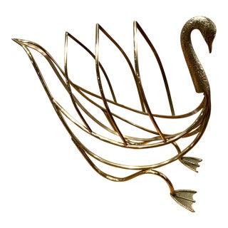 Mid Century Jansen Brass Swan Magazine Rack
