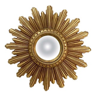 Small French Gilt Starburst or Sunburst Convex Mirror (Diameter 9) For Sale