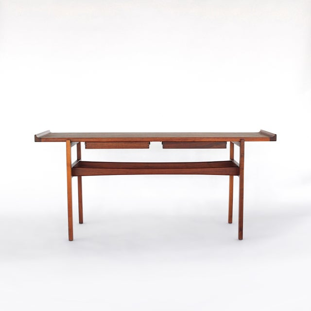 Mid-Century Modern 1960s Danish Modern Jens Risom Console Table With 2 Drawers For Sale - Image 3 of 12