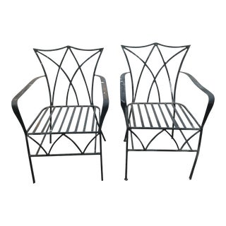 Vintage Mid Century Wrought Iron Outdoor Chairs- a Pair For Sale