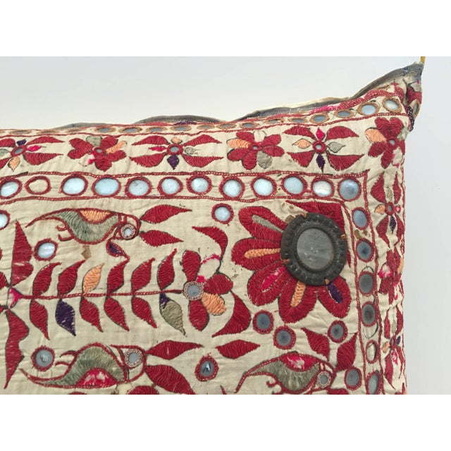 English 19th Century Rajasthani Colorful Embroidery and Mirrored Decorative Pillow For Sale - Image 3 of 11