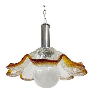 Murano Italian Glass Flower Chandelier Pendant For Sale
