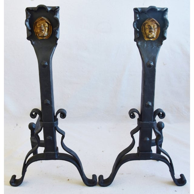 Large Vintage Hand-Forged Iron Monk Fireplace Andirons For Sale - Image 12 of 13