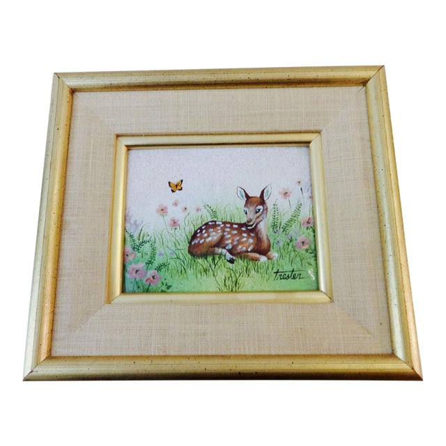 Framed Painting on Metal of a Deer For Sale