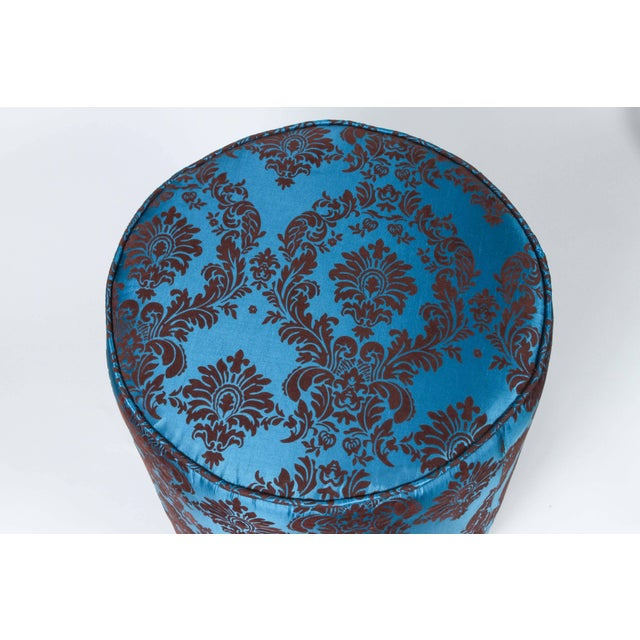 Mid 20th Century Pair of Blue and Brown Upholstered Stools For Sale - Image 5 of 8