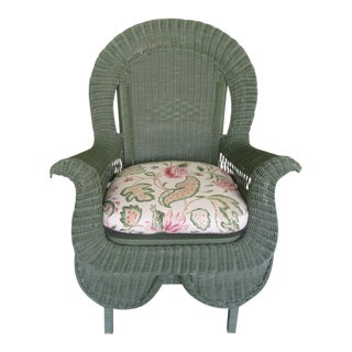 Green Wicker Occasional Chair For Sale