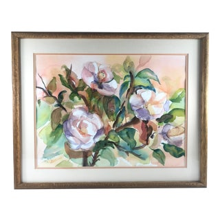 1990s Contemporary Magnolia Tree Watercolor Painting For Sale