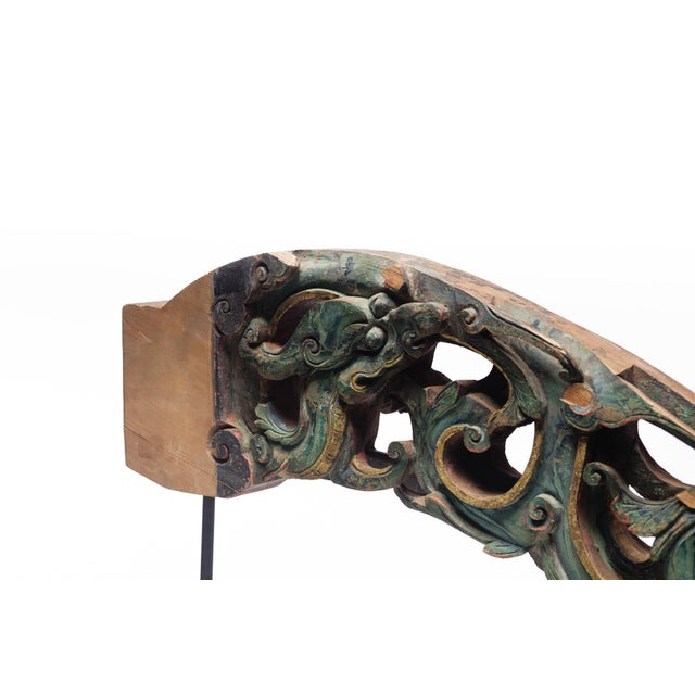 Chinese Statement Piece Antique Carved Temple Fragment With Blue and Green Paint on a Custom Metal Stand For Sale - Image 3 of 8